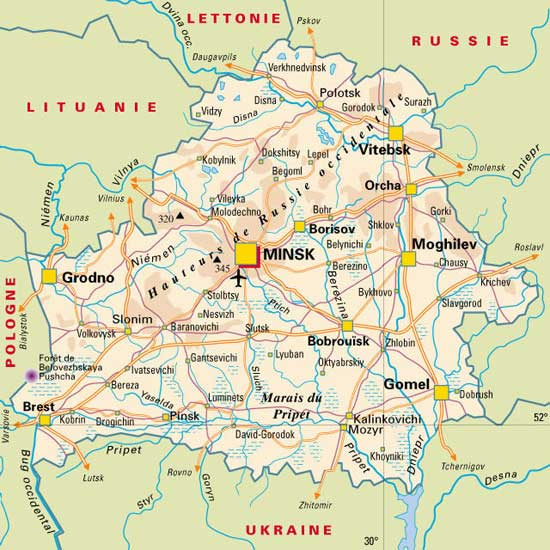 Bielorussie   Carte géographique