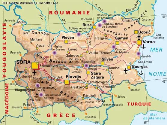 Bulgarie   Carte geographique