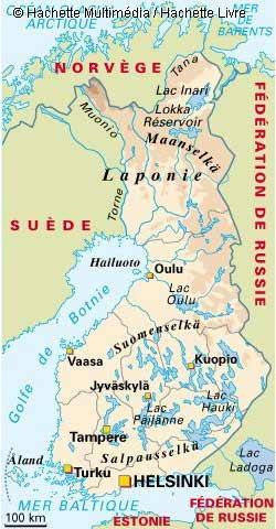 Carte géographique de Finlande