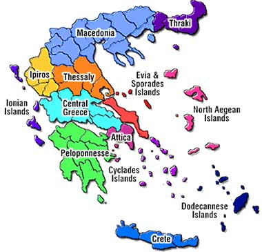 GRECE   Carte des regions