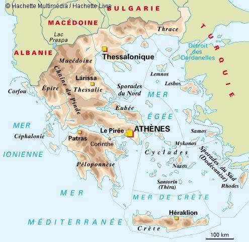 Carte géographique de Grèce