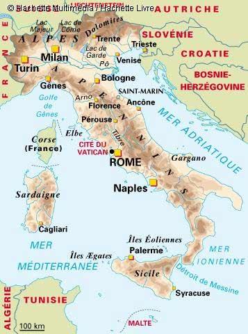 Carte géographique d'Italie