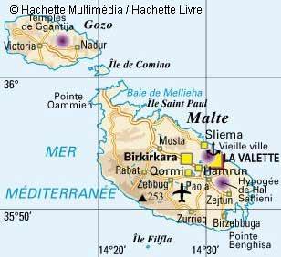 ile de malte carte geographique Carte géographique de Malte