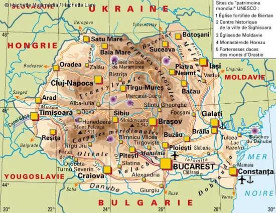 Carte géographique de Roumanie