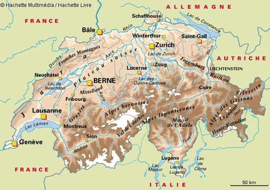 Carte géographique de la Suisse